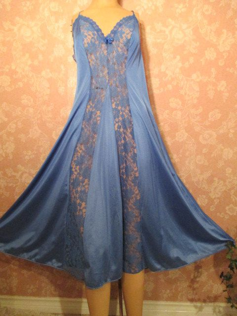 Vintage Nightgown Blue Wide lace Inset Full Sweep by WeeBitUsed, $49.00