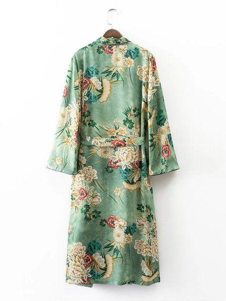 2017 весной и летом новые европейские дамы стиль печатных кимоно рукав ветровки куртки женские с длинными рукавами платья открыты два груза