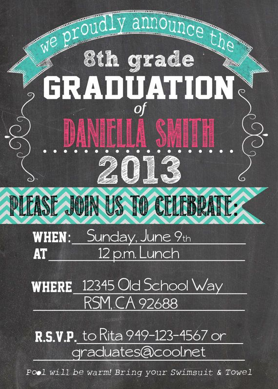 8th Grade Graduation Invitation Personalized Graduation Printable Invitation by lilbeansprout, $15.00