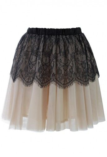 Contrast Black Lace Overlay Tully Skirt