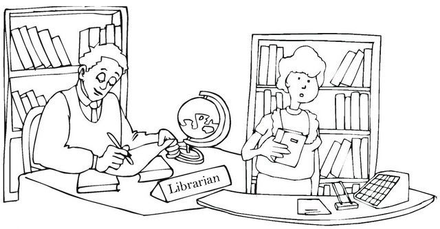Librarians Desk Books Library Room Coloring Pages Librarian