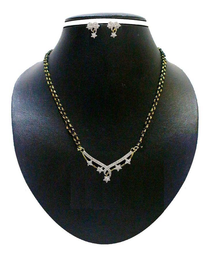 ZAVERI PEARLS -ZPFK501 -American Diamond Mangalsutra,INDIAN,BOLLYWOOD,JEWELLERY #ZAVERIPEARLS