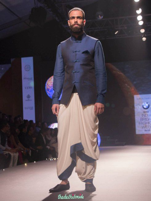 Best of BMW India Bridal Fashion Week - Blue jacket with french knot buttons by Tarun Tahiliani