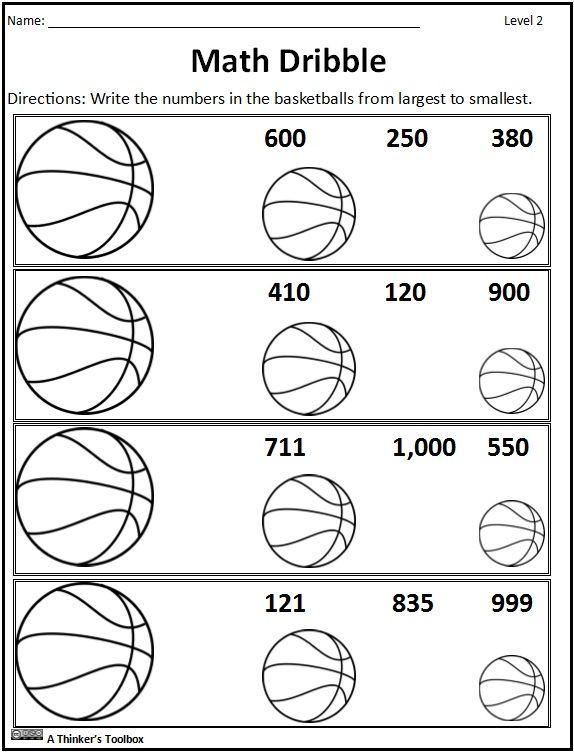 006 Basketball Math Madness NO Prep Worksheets Fun math