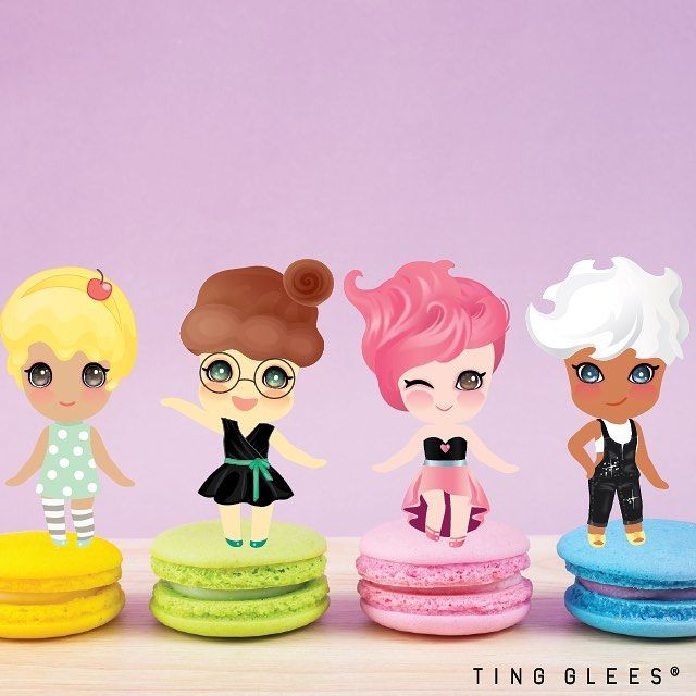마카롱 위에 팅글리들 스윗한 요정, 팅글리  왼쪽부터 체리,코코,츄,나나  TingGlees on macaroons  sweet fairies, TingGlees. From left, Cherry, Coco, Chu, Nana . #tingglees #tingglee #macaroons #sweets #sweet #fairy #팅글리 #마카롱 #요정 #달콤한요정