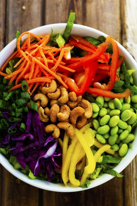 I  colorful salads! This Thai chopped salad topped with cashews is one of my faves.