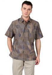 BATIK SEMAR  BATIK SEMAR Kemeja Batik Printing Biru Kombinasi