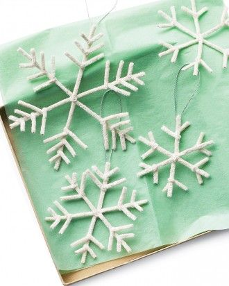Pipecleaner snowflakes