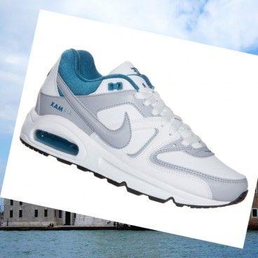 Italia Nike Air Max Comuomod donne Scarpe in pelle bianco / acqua / grigio blu per creare un peso leggero cuscino sensibile resilienza ammortizzazione