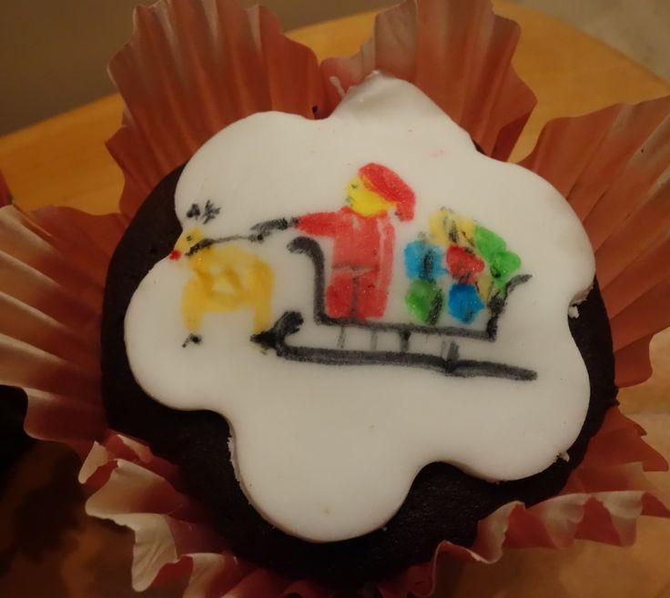 Weihnachts-Muffin mit Weihnachtsmann Schlitten