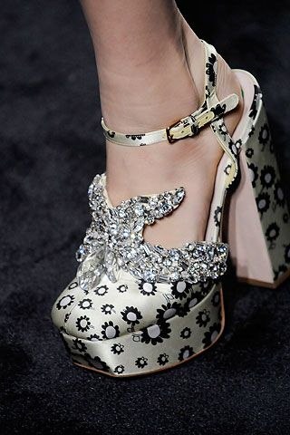 Miu Miu diamond shoes.