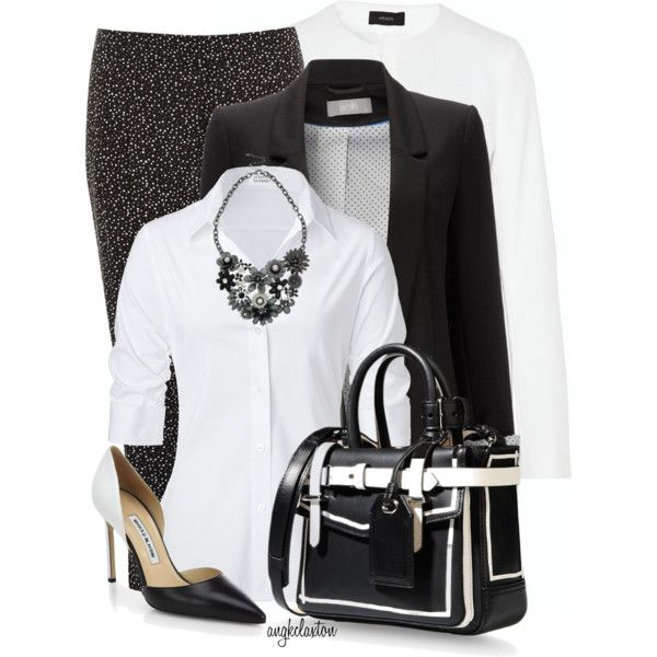 More Black and White for Winter by angkclaxton on Polyvore featuring Steffen Schraut, Joseph, Wallis, Evans, Manolo Blahnik, Reed Krakoff and Oasis