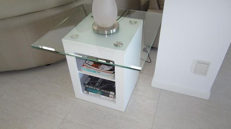$150 Neg Gumtree Modern White Side/Lamp Tables, Glass Tops $150 each Biggera Waters Gold Coast City image 1