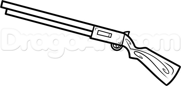 how to draw a shotgun easy step 6 | How to Draw ...