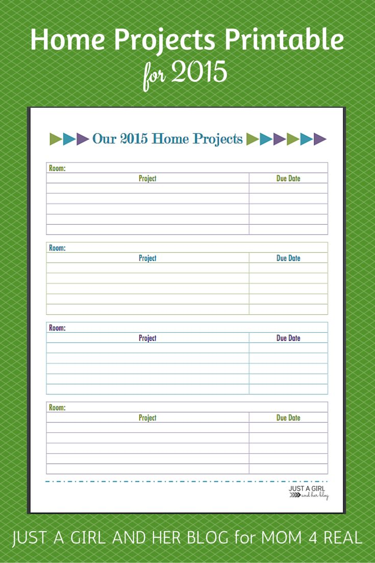 2015 Home Projects Printable | Just a Girl and Her Blog for Mom 4 Real