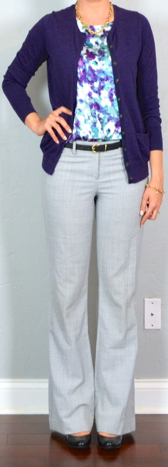 Outfit Posts: outfit post: purple floral camisole, purple cardigan, grey editor pants, black wedges