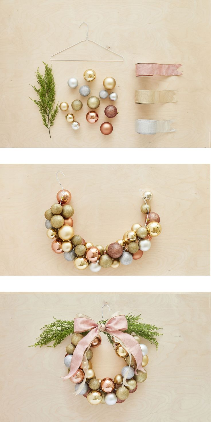 How to create a Christmas ball wreath in less than an hour / Comment faire une couronne de boules en moins d'une heure