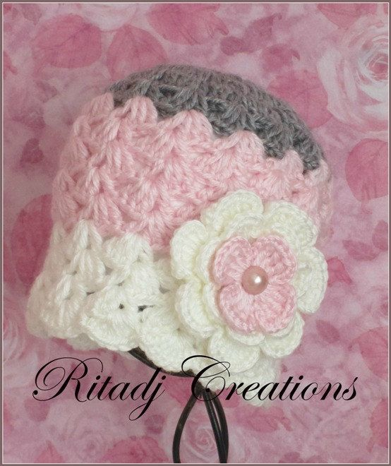 this lovely Baby Girl Hat ~ beanie ~ , is purely hand crocheted, made from 100% soft acrylic yarn.      colors: multicolored     Hat