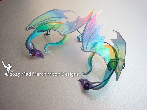 Rainbow Dragon Ear Cuffs iridescent rainbow acetate, hand wound wire non pierced clip on