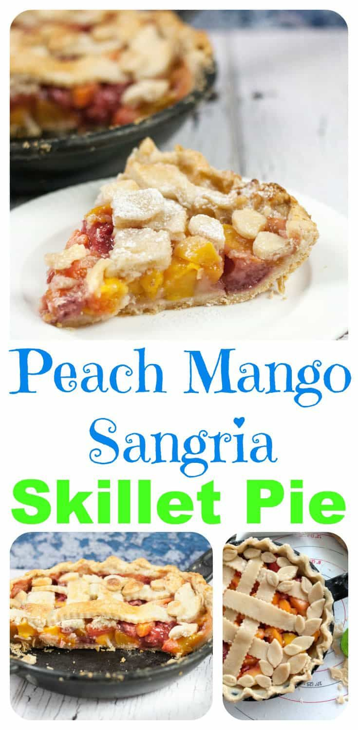 Homemade Peach Mango Sangria Skillet Pie via @https://www.pinterest.com/Pieandpastrygal/