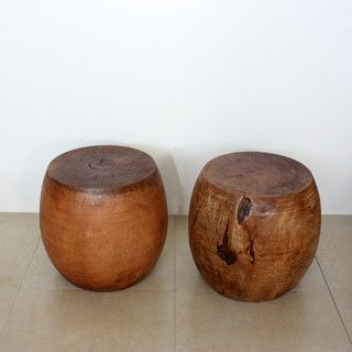 Mango Wood Light Teak Oil Pouf Stool - contemporary - ottomans and cubes - by Overstock.com