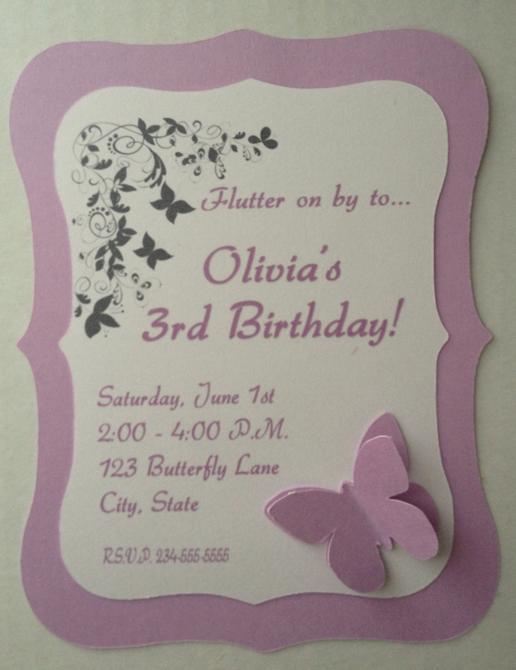 Butterfly Birthday Invitations via Etsy - I like the pop-out butterfly here as an idea for our invites.