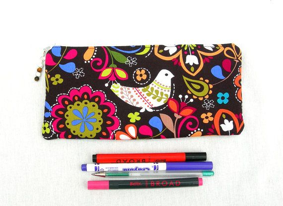 Under 20 dollars. Pencil case. Zippered pouch. by HoneysuckleBarn