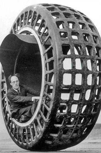 """The Dynasphere was a monowheel electric vehicle invented in 1932 by Dr. J. A. Purves from Taunton, Somerset, UK. It had 2.5 horse power and once attained a speed of 25 mph."""