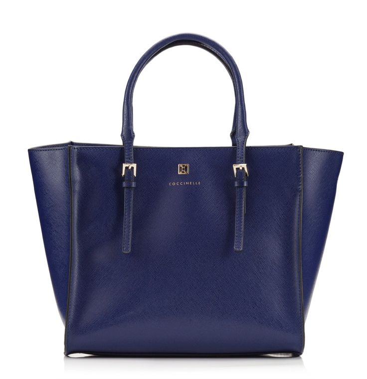 Coccinelle Blue saffiano leather trapeze mini tote bag