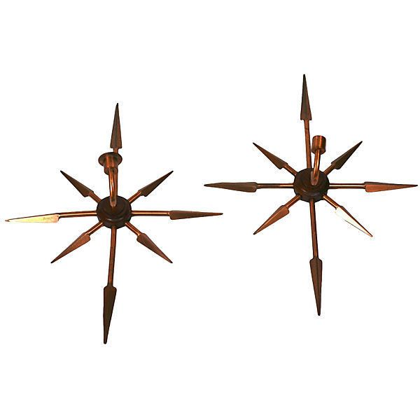 Pre-Owned Pair of Modernist Arrow Sconces ($295) ❤ liked on Polyvore featuring home, lighting, wall lights, twin pack, euro lighting, european lighting and arrow lighting