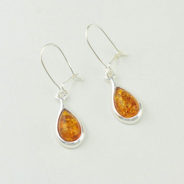 Honey Amber Sterling Silver Sunflower Earwire Earrings zR5U6ZCMO