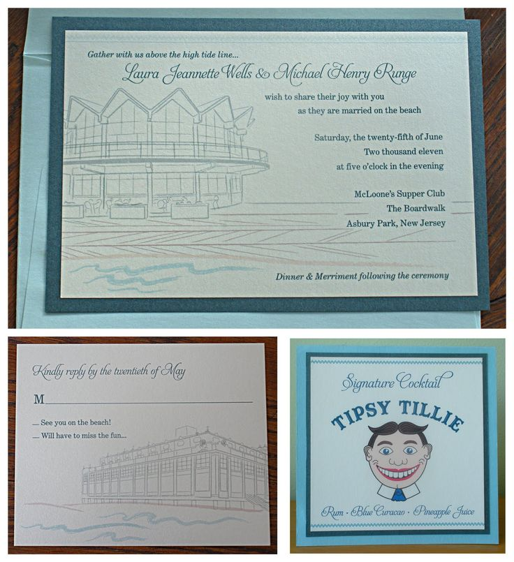 Invitations, Ink, Social Design Studio: Asbury Park Wedding