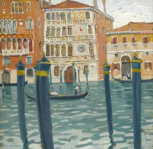 Jane Peterson (American, 1876-1965) Palace Dario on the Grand Canal, Venice 18 x 18in