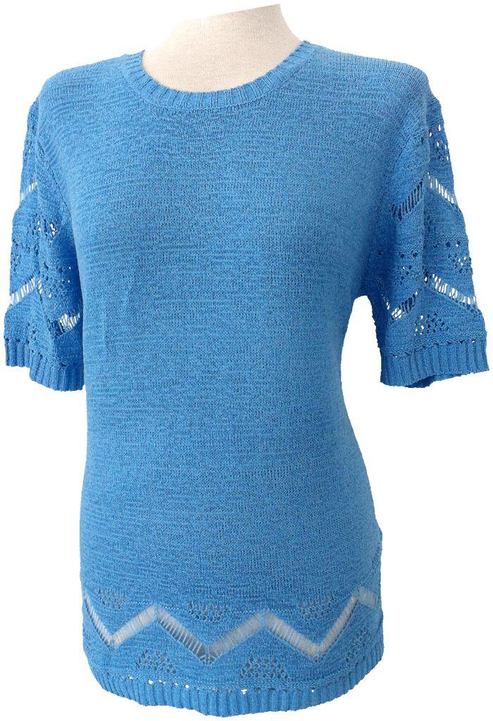 Suéter de perlé, cuello redondo, aperturas laterales, calados en bajos y mangas.  Tallas M/L, XXL Colores; Blanco roto, negro, azul, marrón, salmón, verde agua y coral.