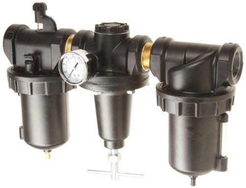 "Parker C628-06Frlwjcwr Three-Unit Combo Compressed Air Filter/Regulator/Lubricator, 3/4"" Npt, Metal Bowl With Sight Gauge, Auto Drain, 40 Micron, 220 Scfm, Relieving Type, 0-125 Psi Pressure Range,, 2015 Amazon Top Rated Pressure & Vacuum Gauges #BISS"