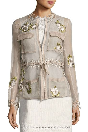 "Katya Floral-Applique Silk Jacket by Elie Tahari. Elie Tahari ""Katya"" sheer silk jacket features embroidered floral appliq. Lace trim accents neckline, waist and cuffs..."