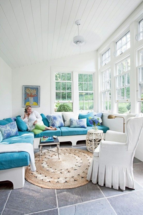 Turquoise And White Sunroom Porches Sunrooms And