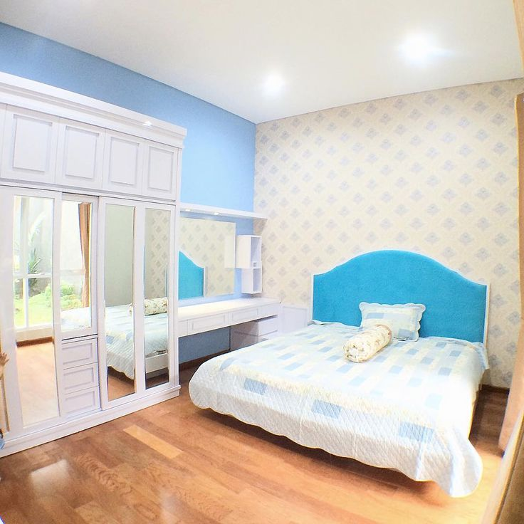 Warna Cat Kamar Tidur Romantis Biru Putih Kombinasi 2 Warna