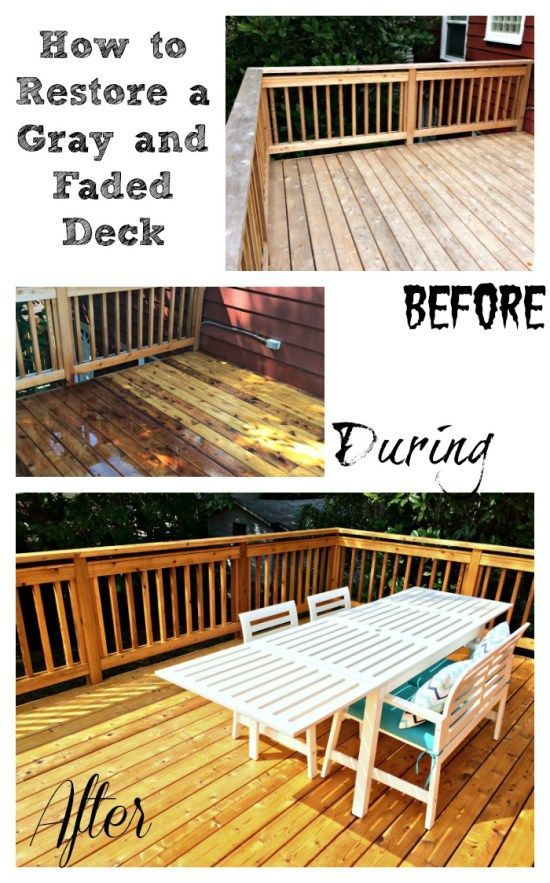 Make your deck look new again! These handy tips will help you restore your gray and faded deck to its former glory. - http://thehandymansdaughter.com