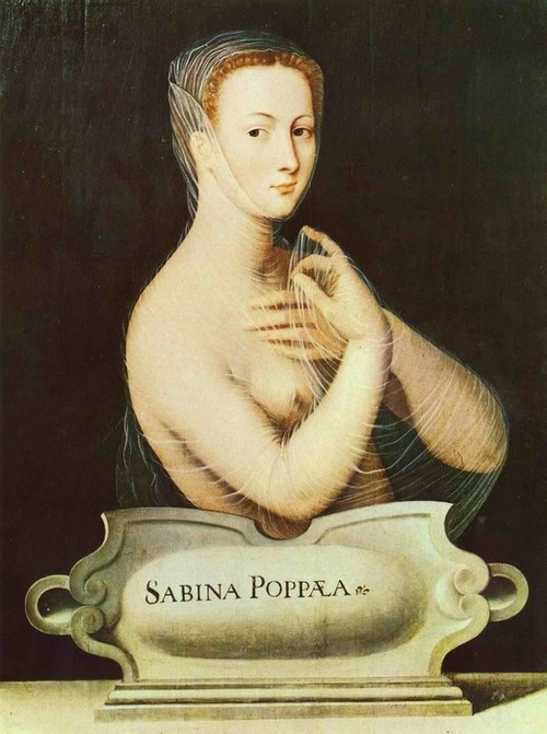 Painting of the Roman courtesan Sabina Poppea who was briefly married to the emperor Nero  16th century, Unknown painter of the Fontainebleu School: