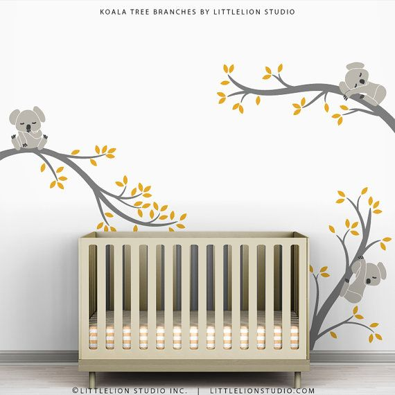 Kids Wall Decals Yellow Gray Wall Sticker Tree Baby Room