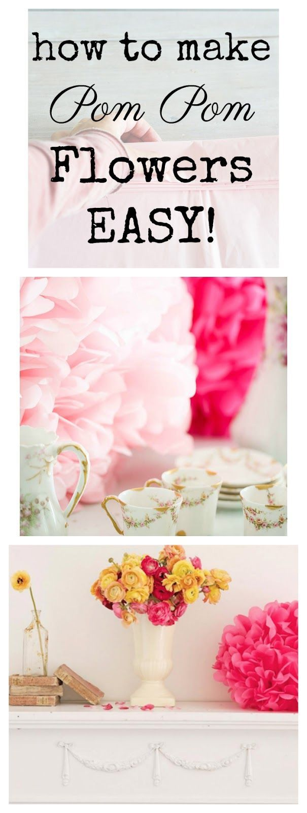 How To Make Tissue Paper Pom Poms - Easy DIY #paper #weddingdecor #valentinesdaydecorating #crafts