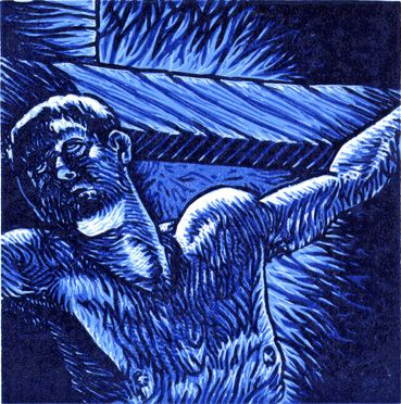 Into Your Hands - Reduction Linoleum Block Print by Tyrus Clutter 2012