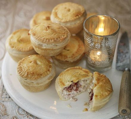 Mini turkey & cranberry pies. These dinky pies are so versatile – try them with chopped ham and mustard, too.