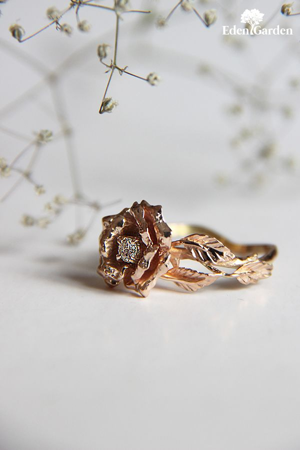 Rose engagement ring, 18K gold ring, yellow gold ring, engagement ring, gold flower ring, flower ring, proposal ring, unique proposal ring