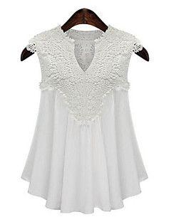 Women's Casual/Daily Plus Size / Street chic Summer Tanks,Solid V Neck Sleeveless White / Black Polyester Medium