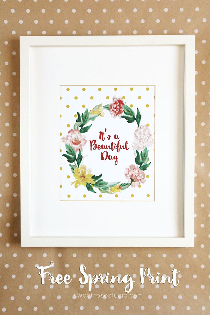 Brighten up your seasonal home decor with this free spring print! The polka dots and watercolor flowers make for a winning combination.