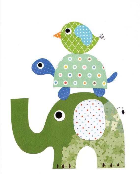 Elefantes aves vivero arte imprimir bebé sala por 3000yardsofthread
