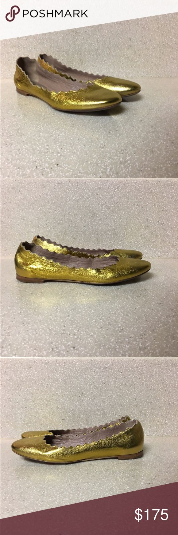 Chloe Lauren Scalloped Ballerina Gold Size 36.5 Chloe 'Lauren' Scalloped Ballerina Flat in Metallic Gold. Size 36.5. Purchased having been a floor display, resulting in the bottom exterior sole being touched up/resoled (please see photos). Overall Excellent Condition. Chloe Shoes Flats & Loafers