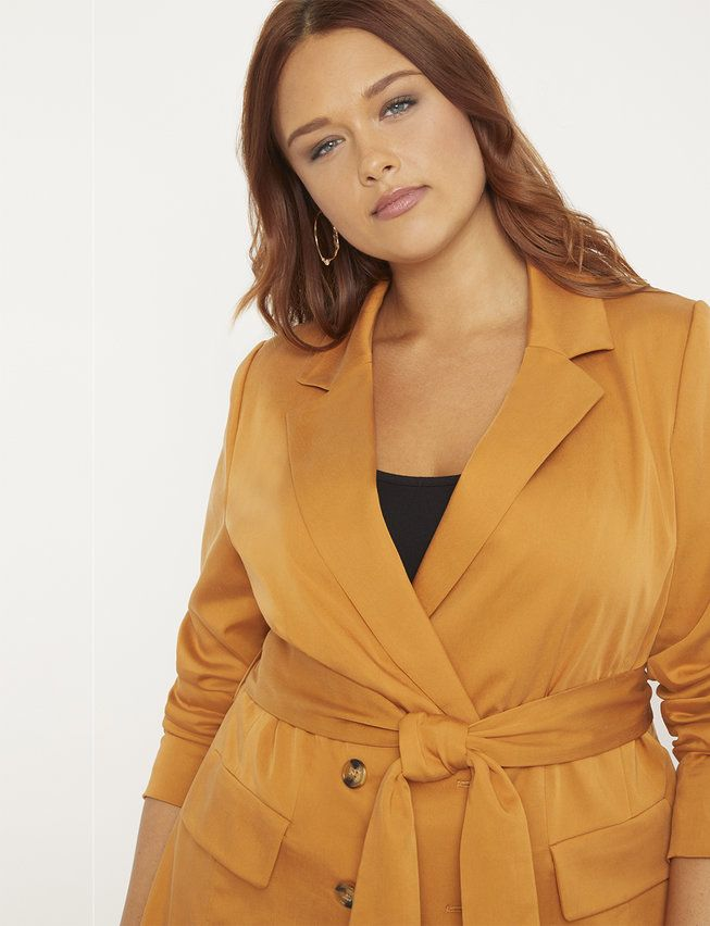 Double Breasted Blazer with Tie | Women's Plus Size Coats + Jackets 13